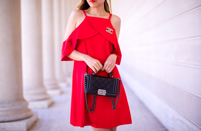 chicwish cold shoulder dress, off shoulder dress, chanel boy bag, valentino rock studs flats, quay sunglasses, chanel brooch, san francisco fashion blog, san francisco street style, date night outfit ideas