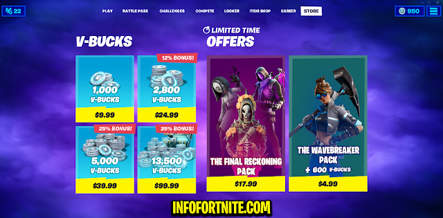 Fortnite: The Wavebreaker and The Final Reckoning, New Packs