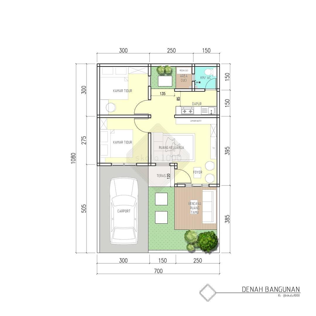 Desain dan Denah Rumah Elagan Type 40 Luas Tanah 7 x 10,4 ...