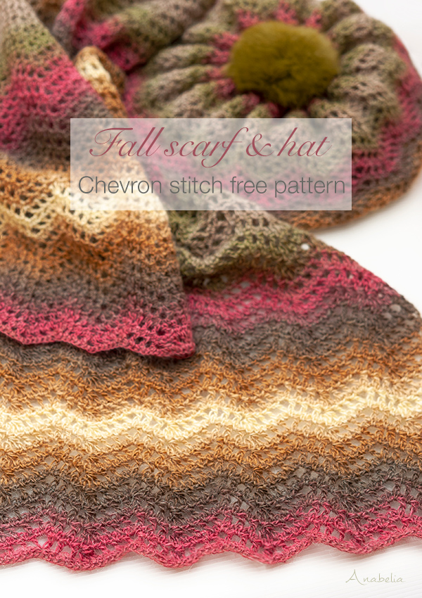 Chevron stitch free pattern scarf and hat