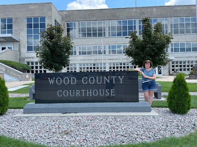 Arlene Clark Lange outside of the Wood County Courthouse