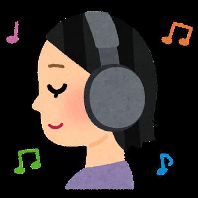 横から見たヘッドフォンを付けた人のイラスト(女性)