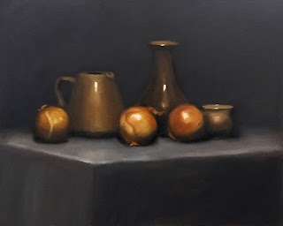 Still life oil painting of onions with brown ceramics.