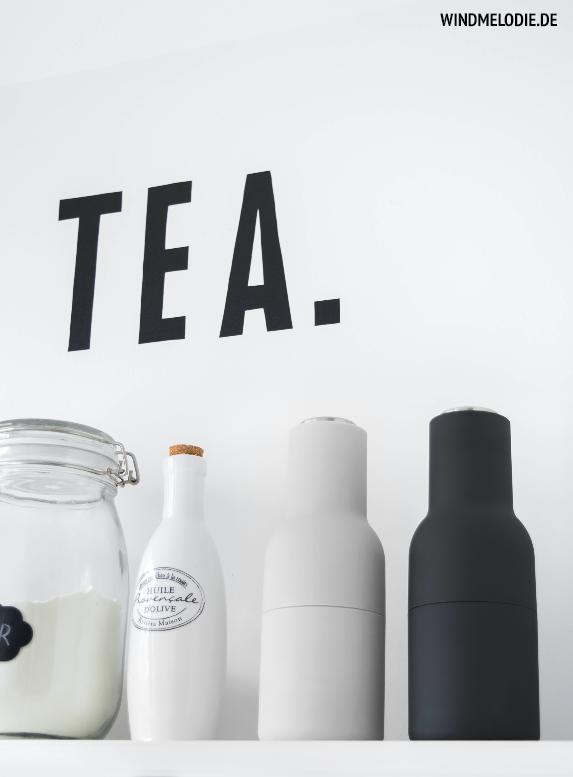 Tea Tafelschrift Menu Salz Pfeffer Mühlen schwarz weiß
