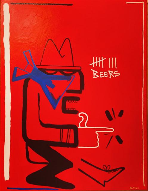 Gabriel D'Elia pintura contemporánea rojo hombre con pistola y cerveza