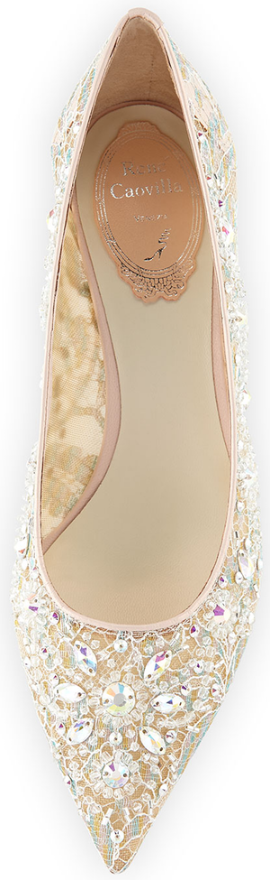 Rene Caovilla Crystal-Embellished Lace Low-Heel Pump, Lilac/Multi