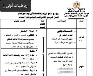 توزيع منهج الصف الأول و الثاني والثالث الإعدادى حتى ١٥ مارس
