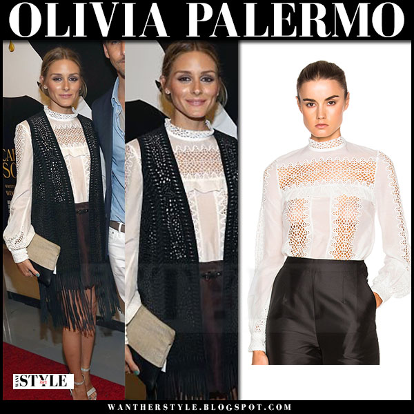 Olivia Palermo in white lace self portrait balloon sleeve blouse, black crochet cardigan and mini skirt what she wore