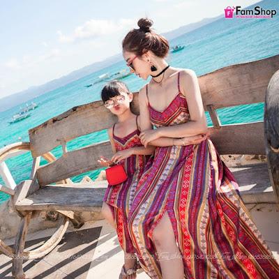 Váy maxi mẹ và bé gái M475