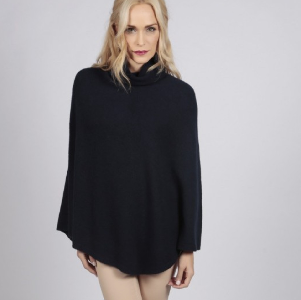 italy in cashmere navy blue pure cashmere roll neck poncho cape
