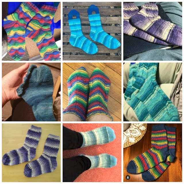 A collage photo showing nine pairs of socks