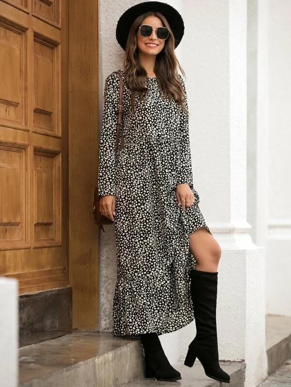 Outfits ideas #2 - Ruffle Hem All Over Print Dress