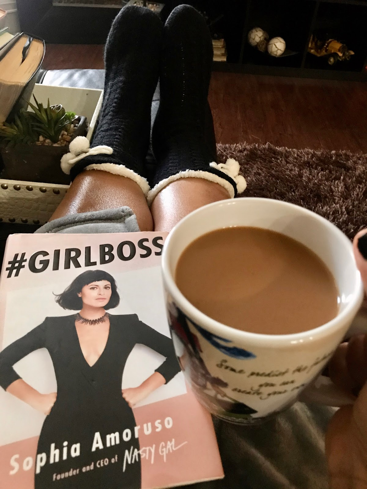 Socks, Girl boss book and coffee is essential for a winter with ease. Seen first on Bits and Babbles. Being Forty-Something
