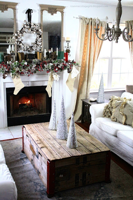 Christmas, Flocked Tree, Farmhouse, Cottage, Decorating, Fireplace, Cotton, Mantel, Cone Trees, Vintage, Books, Flocked Garland, Ikea Couches