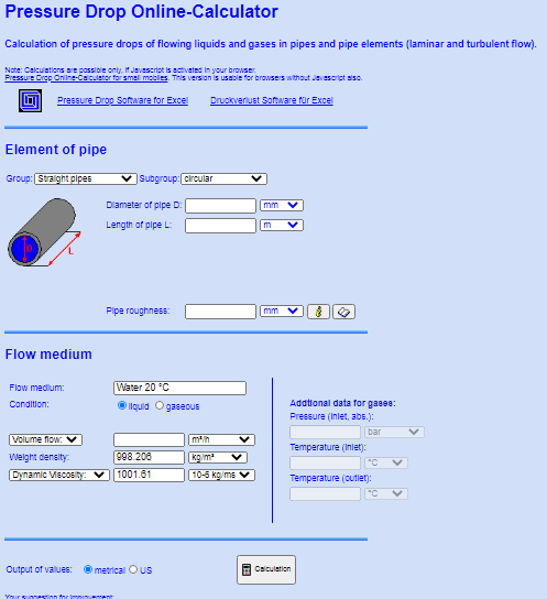 Pressure Drop Online Calculator Fot Bit Pressure Drop Calculation