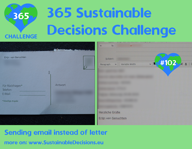 Sending email instead of letter reducing CO2 remission reducing waste