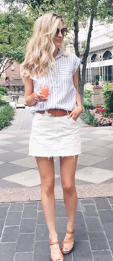 cool street style outfit: shirt + skirt + sandals