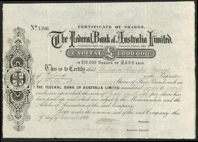 share from the Federal Bank of Australia signed by James Munro, Premier of Victoria