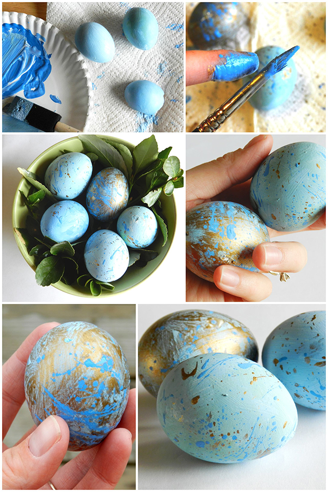 Speckled Blue and Gold Easter Eggs Easter Decor