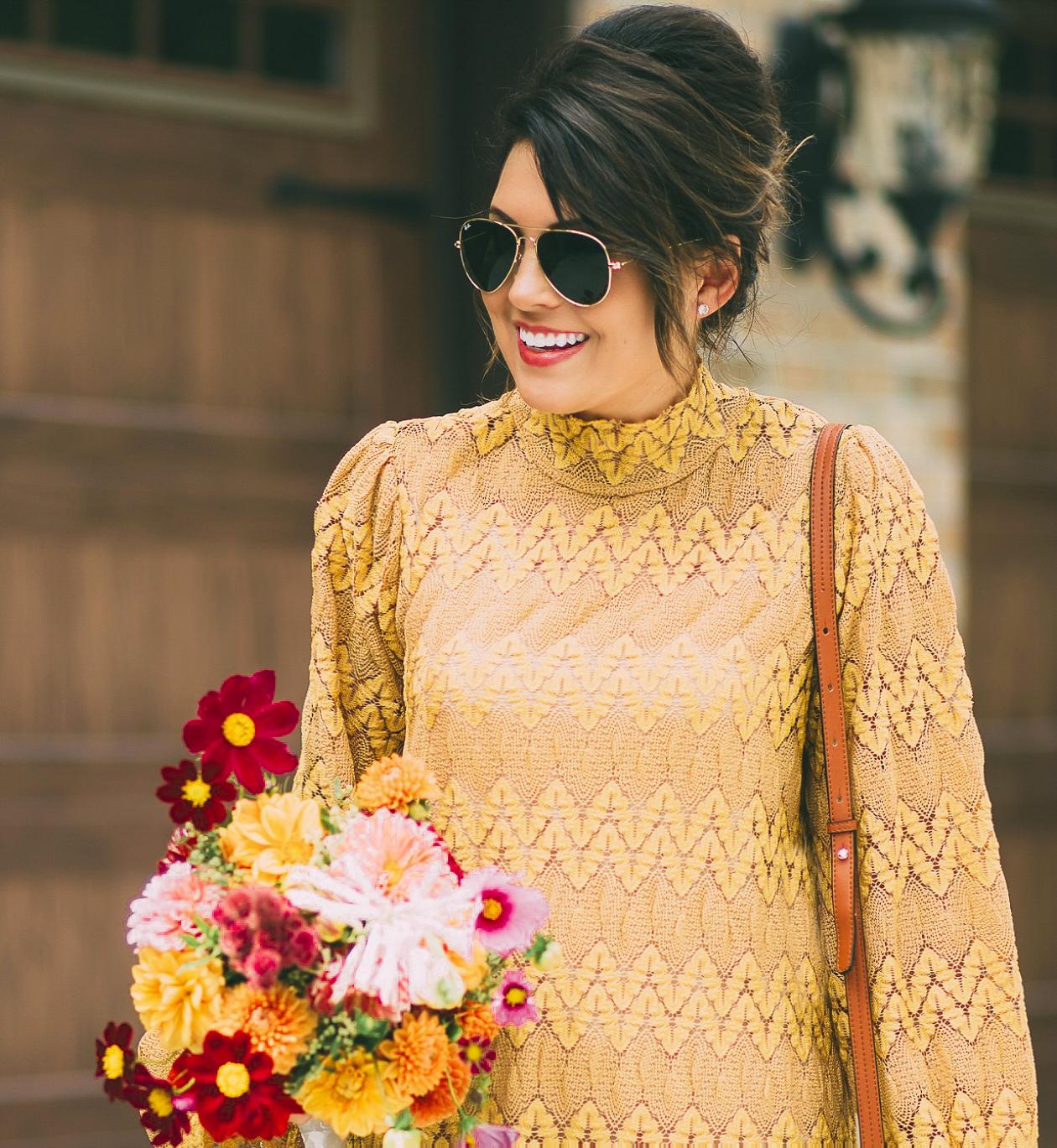 free people simone dress, fall fashion, mustard yellow dress, life and messy hair, xo samantha brooke, samantha brooke