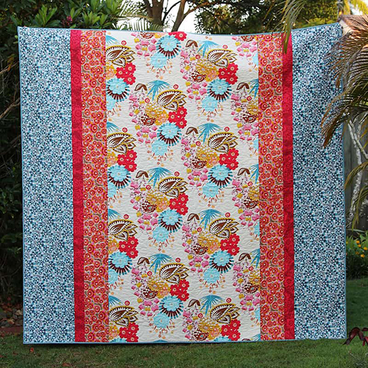 Summer Totem Queen Sized Quilt designed by Kirsty Cleverly of Bonjour Quilts