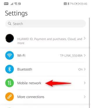 شبكة إعدادات Android