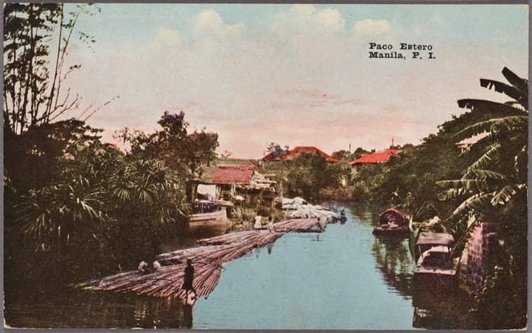 1910 postcard of Estero de Paco where the town center of San Fernando de Dilao is situated
