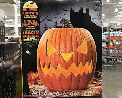 Decorate your home this Halloween with the Halloween Pumpkin with Yellow LED Flickering Lights