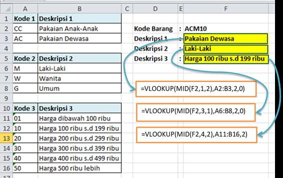 Contoh Rumus Excel VLOOKUP Baca Kode Barang