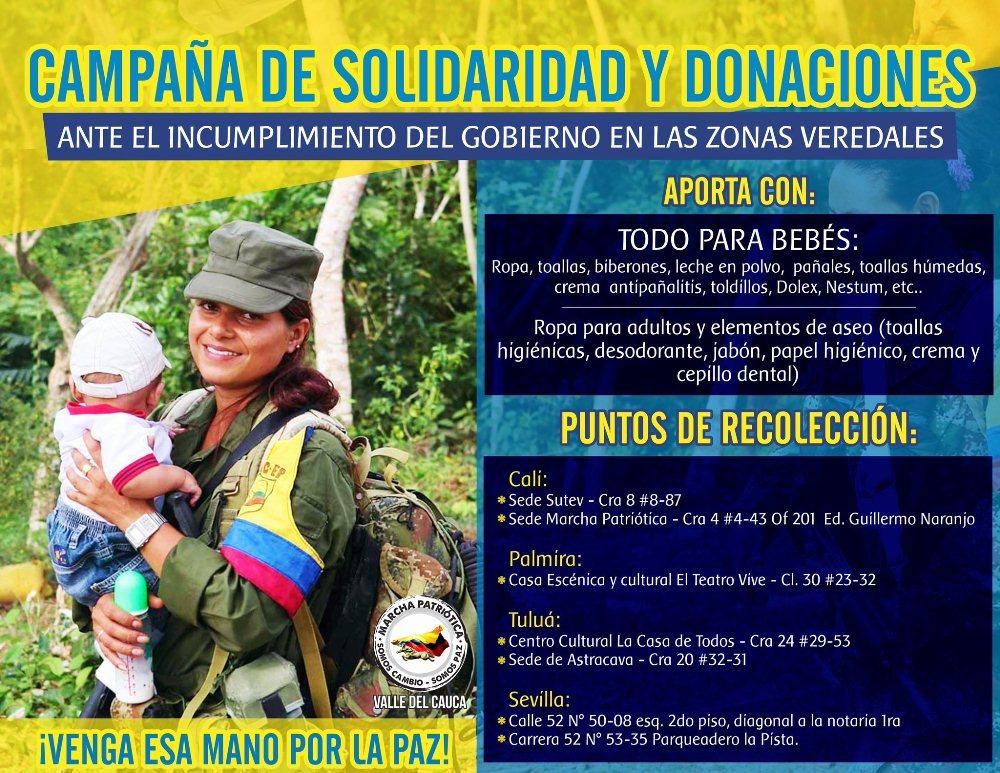 Colombia: En el Valle recolectan donaciones para zonas veredales