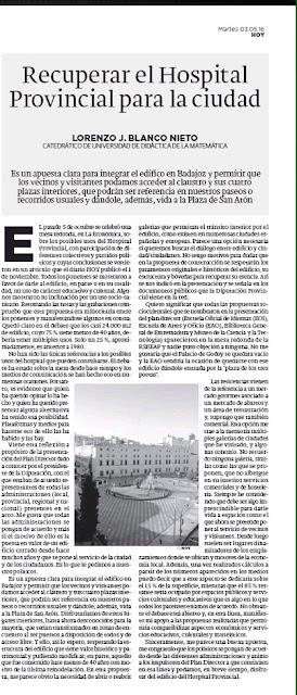 Hospital Provincial Plan Director de la Diputación Provincial Badajoz