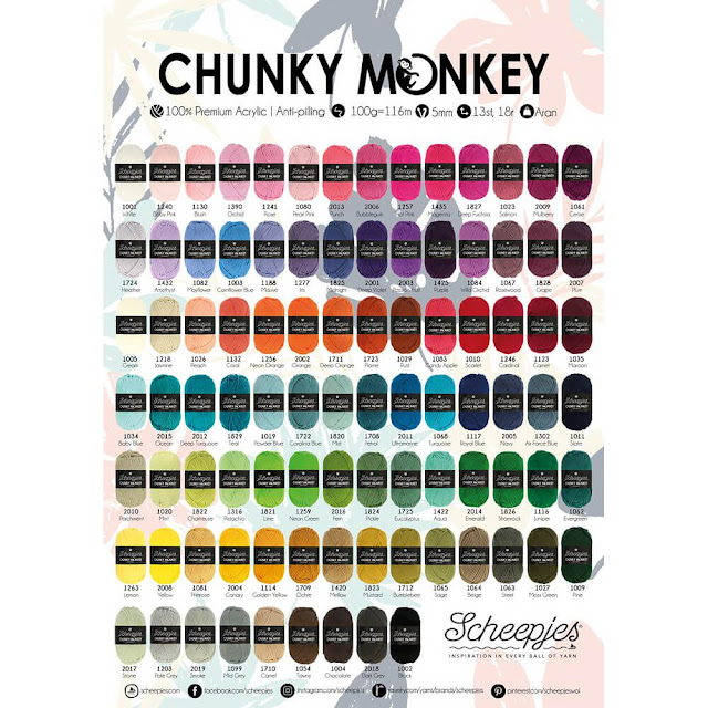 Scheepjes Chunky Monkey yarn in 93 colors; 100% acrylic anti-pilling worsted/aran yarn