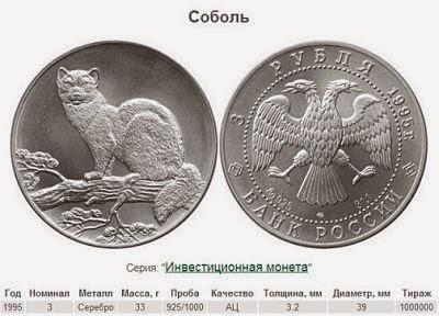 """монета из серебра """"Соболь"""" для инвестиций"""