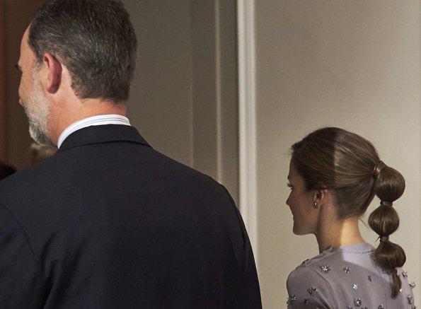 Queen Letizia wore Nina Ricci Dress and Magrit Pumps Letizia carried Chanel cyristal diamond clutch bag