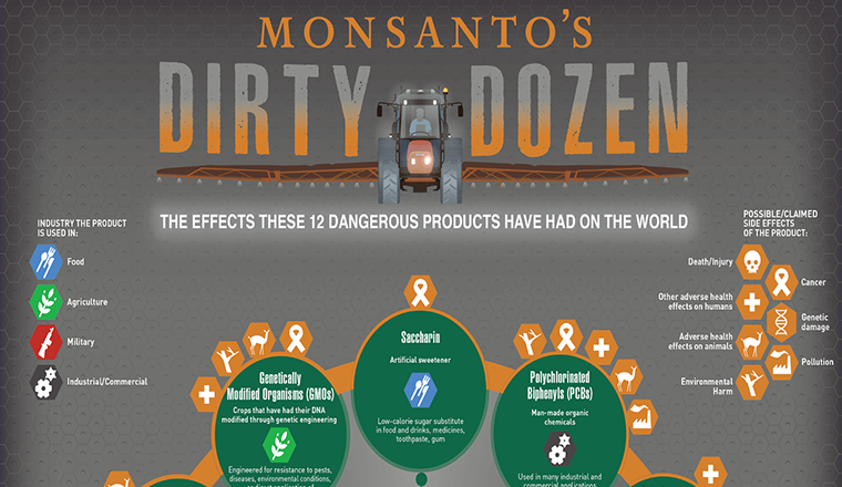 Monsanto's Dirty Dozen: The Effects These 12 Dangerous Products Have Had On The World #infograpic