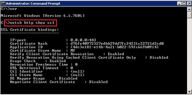 Verificación de la configuración SSL de IIS con netsh