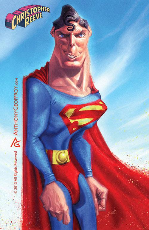 "Caricatura de ""Cristopher Reeve"" alias ""Superman"" por Anthony Geoffroy"