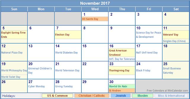 November 2017 Holiday Calendar, 2017 Calendar Holidays, 2017 Calendar Holidays Print, 2017 Calendar Holidays Printable, 2017 Calendar Holidays Template, 2017 Calendar with Holidays, 2017 Calendar with Holidays Printable