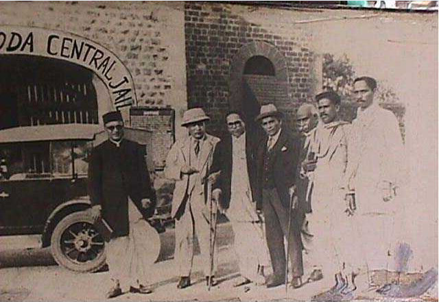 At the time of signing the Puna Pact in 1932 at Yerwada Central Prison, Pune. Seen in the picture Barrister Jaikar (second from left) and Barrister Sapru (on the left of Dr. Ambedkar)