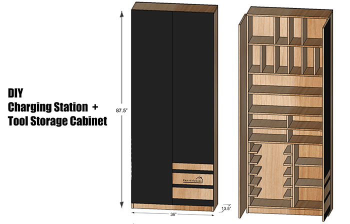 Free plans for drill & charging station + tool storage cabinet.
