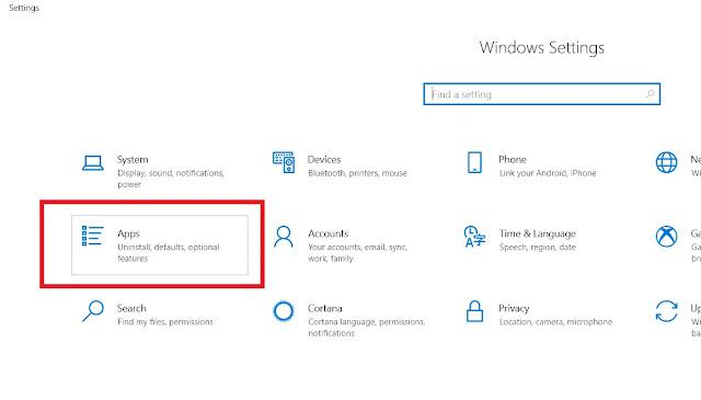 Click Apps in Windows 10 Settings Window