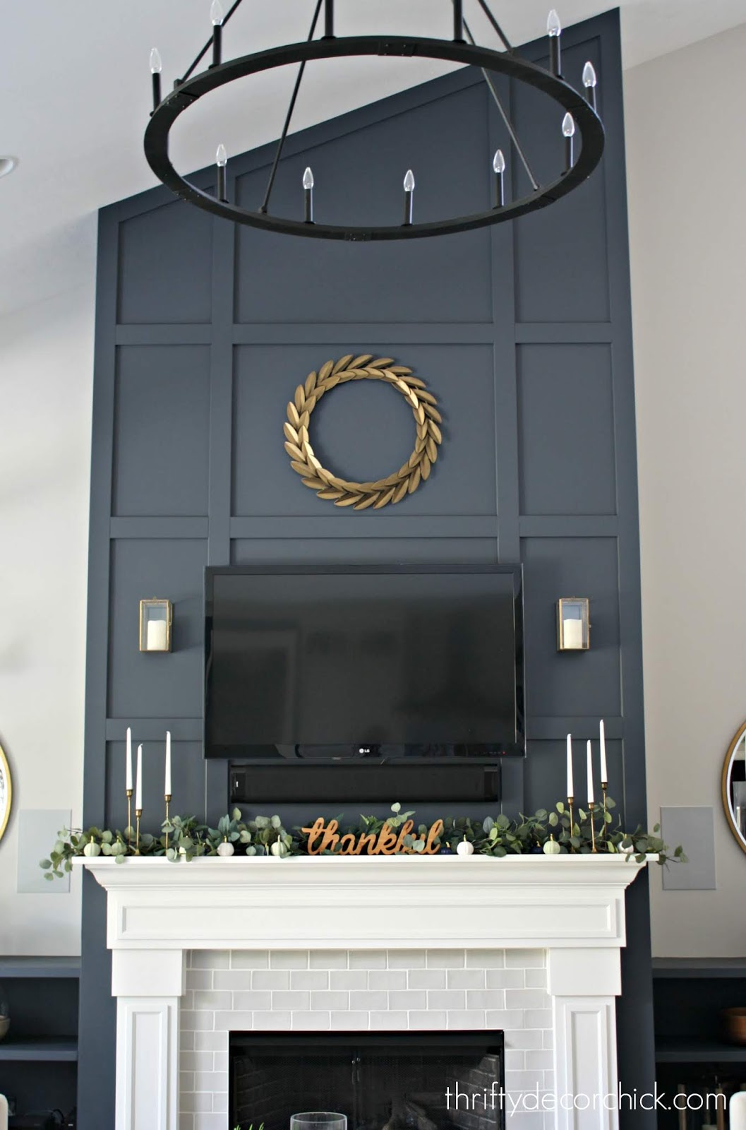 Before and after -- simple trim and paint on fireplace