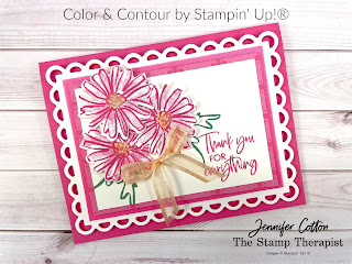 This pink card use Stampin' Up!'s Color & Contour Bundle (Color & Contour stamp set and Scalloped Contours Dies).  It also uses the new in colors Pale Papaya, Polished Pink, and  Soft Succulent (2021-2023), 2021-2023 In Color Shimmer Vellum, In-Color 6x6 Designer Series Paper Assortment, Wink of Stella, and Pale Papaya Open Weave Ribbon.  #StampinUp #InColor #StampTherapist #ColorandContour