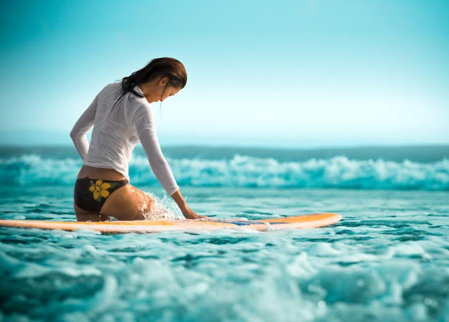 Kuta Beach Surfing Girl