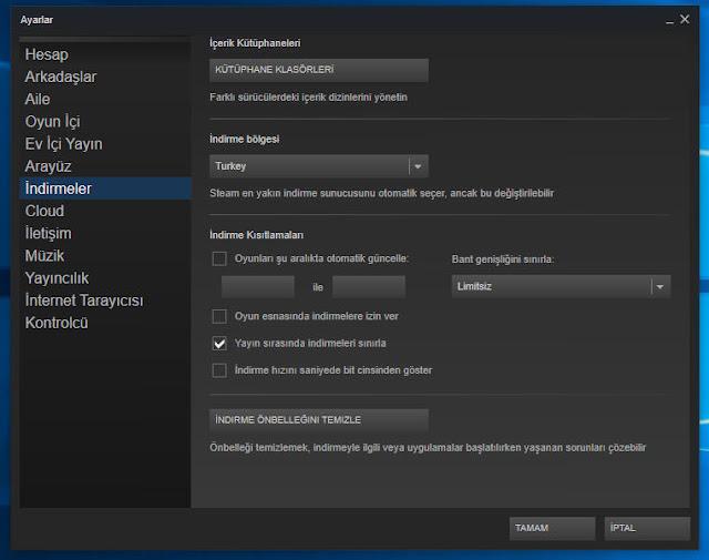 steam indirme hızını arttırmak, steam oyun indirme bölgesi değiştirme