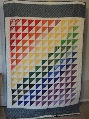 Rainbow Quilt half square triangles