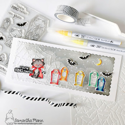 You're Fang-tastic Card by Samantha Mann for Newton's Nook Designs, Halloween Card, Card Making, Slimline Card, Stencil, Halloween #newtonsnook #newtonsnookdesigns #slimlinecard #cardmaking #halloween #halloweencard