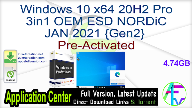 Windows 10 X64 20H2 Pro 3in1 OEM ESD NORDiC JAN 2021 {Gen2}Pre-Activated