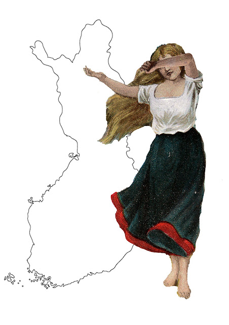 """Suomi Neito"" the Maiden of Finland with map of Finland"