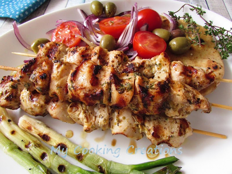 Пилешко сувлаки по гръцки * Souvlaki di pollo alla greca